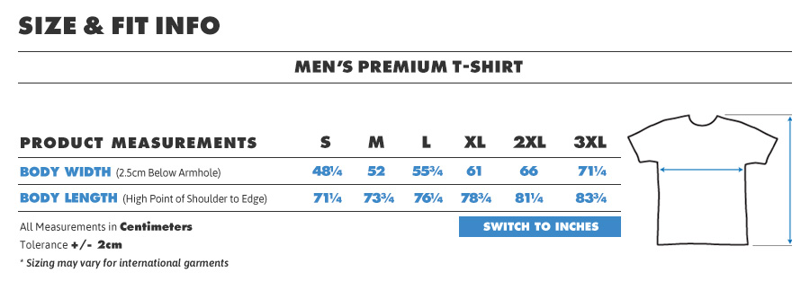 Tee male premium centimeters