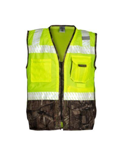 Kishigo Premium Brilliant Series Heavy Duty Mossy Oak Vest / Lime - Large