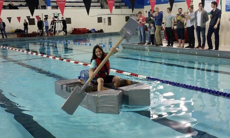 University Of New Brunswick Engineering Professor Katy Haralampides Raced One The 16 Cardboard Boats At Sir Max Aitken Pool Tuesday Afternoon