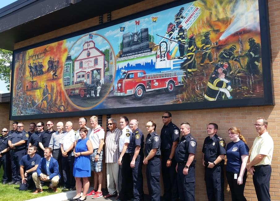 Dignitaries, Guests And Fire Fighters Pose In Front Of The New 10 Metre  Mural By Local Artist Ron Sajack On The Wall Of The York Street Station  That Depicts ... Part 94