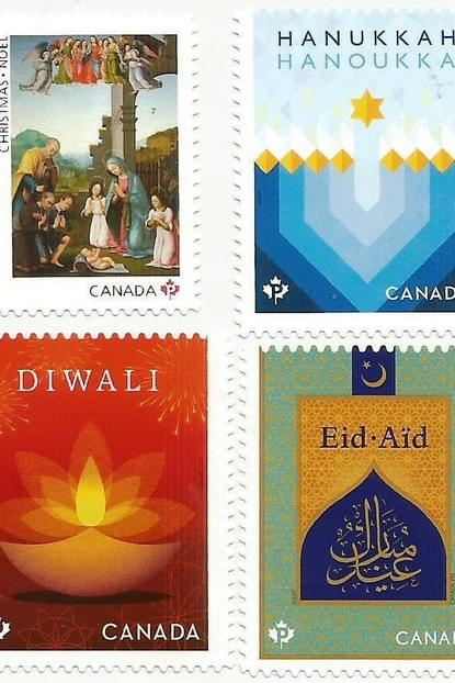 Canada Posts Multicultural Stamps Issued This Year Include Clockwise From Top Left The Sacred Christmas Issue A Hanukkah Stamp For Muslim