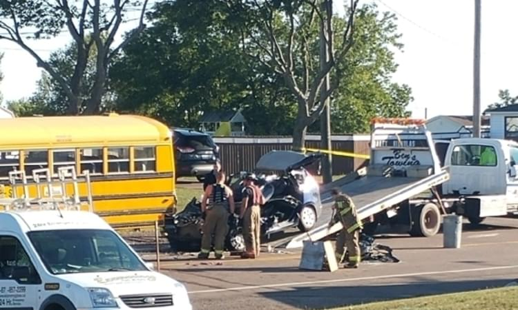 Image result for Woman dies after crash with school bus in Grand-Barachois, N.B.