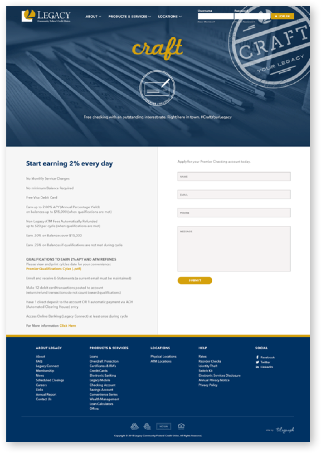 Alternative landing page design