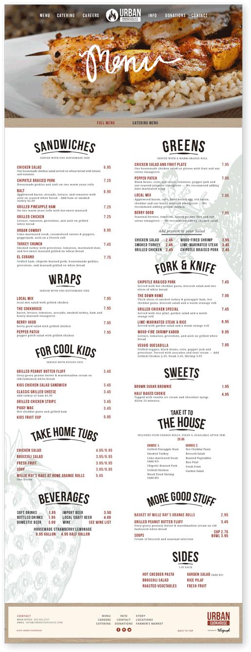 Local restaurant menu redesign