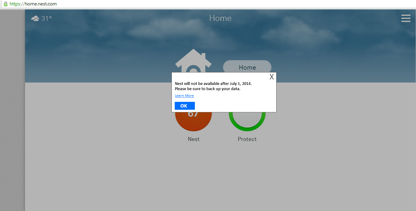 Parody of Google Reader shutdown message applied to Nest website.