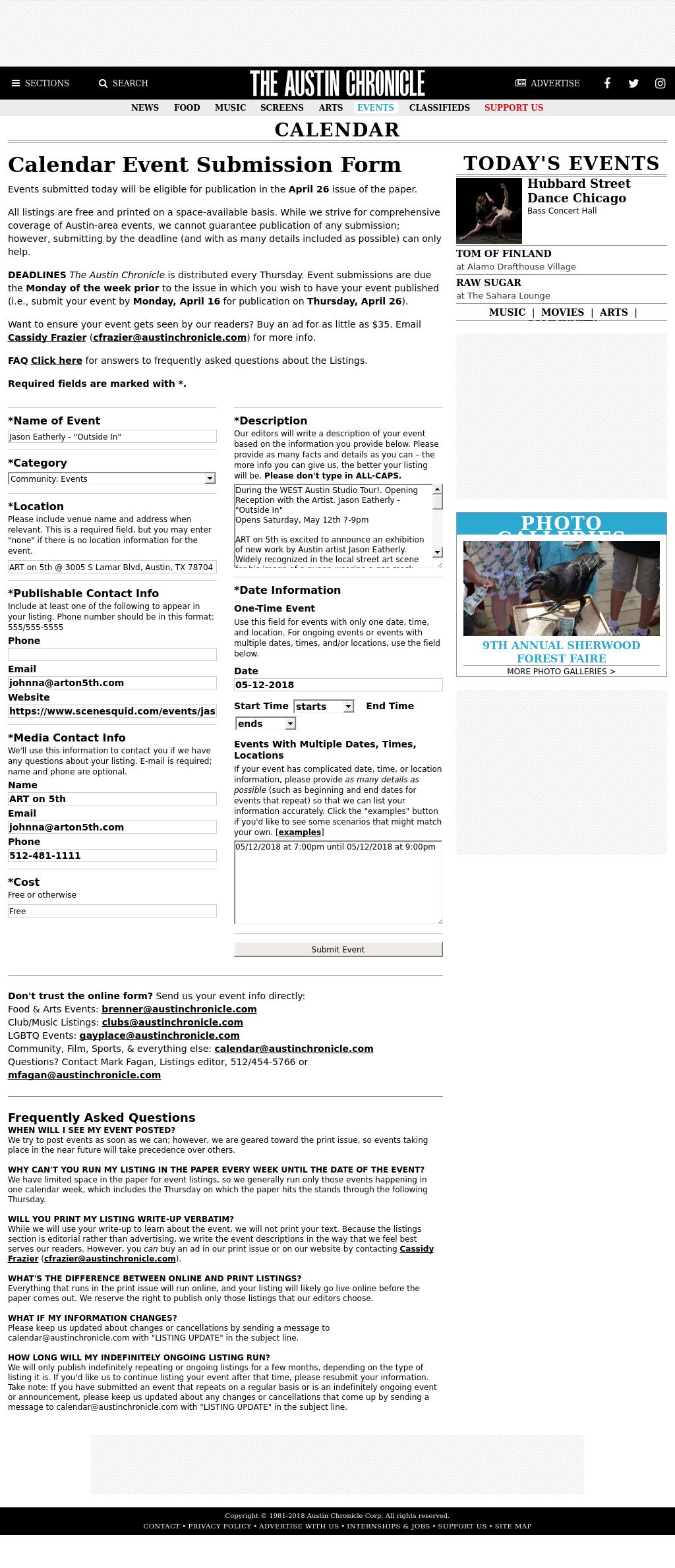 Screenshot from Austin Chronicle integration