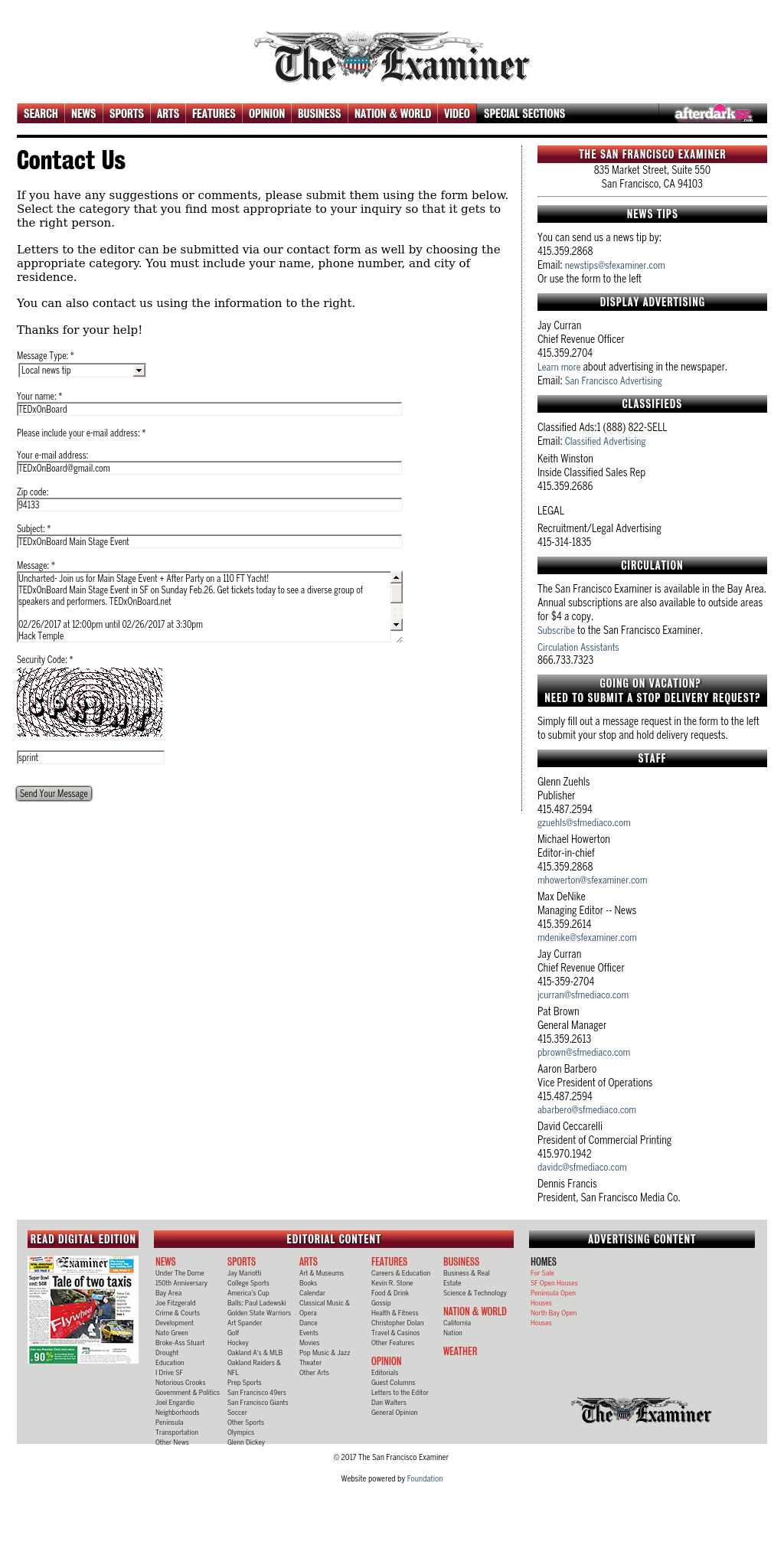 Screenshot from SF Examiner integration