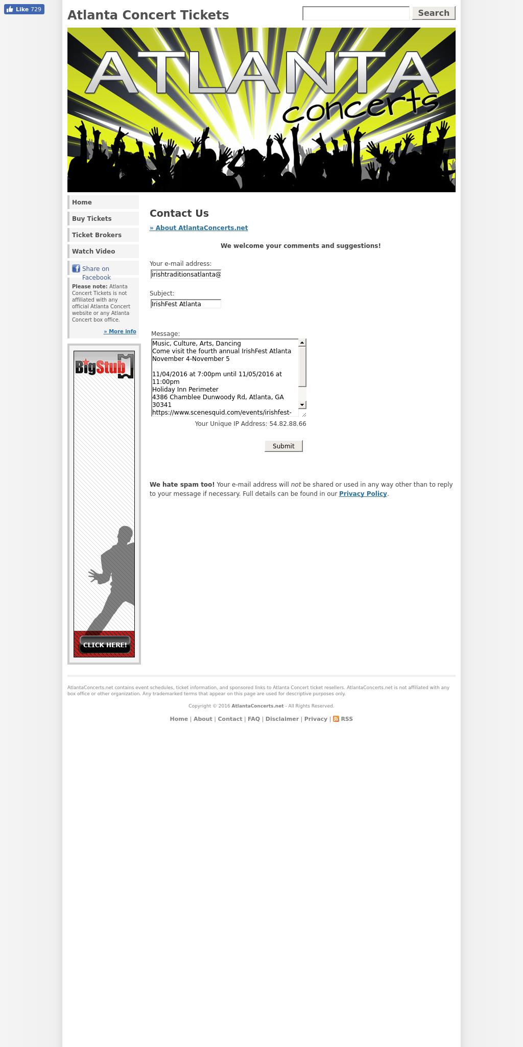 Screenshot from Atlanta Concerts integration