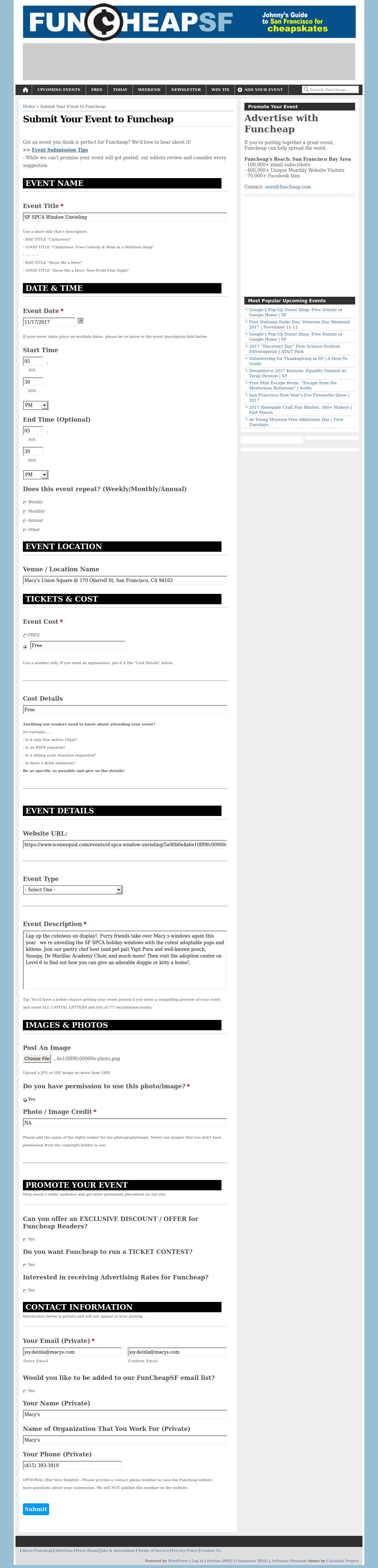 Screenshot from Fun Cheap integration
