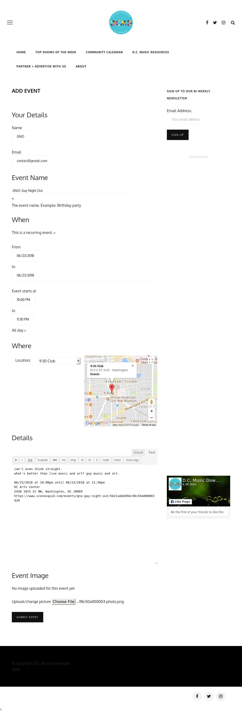 Screenshot from DC Music Download integration