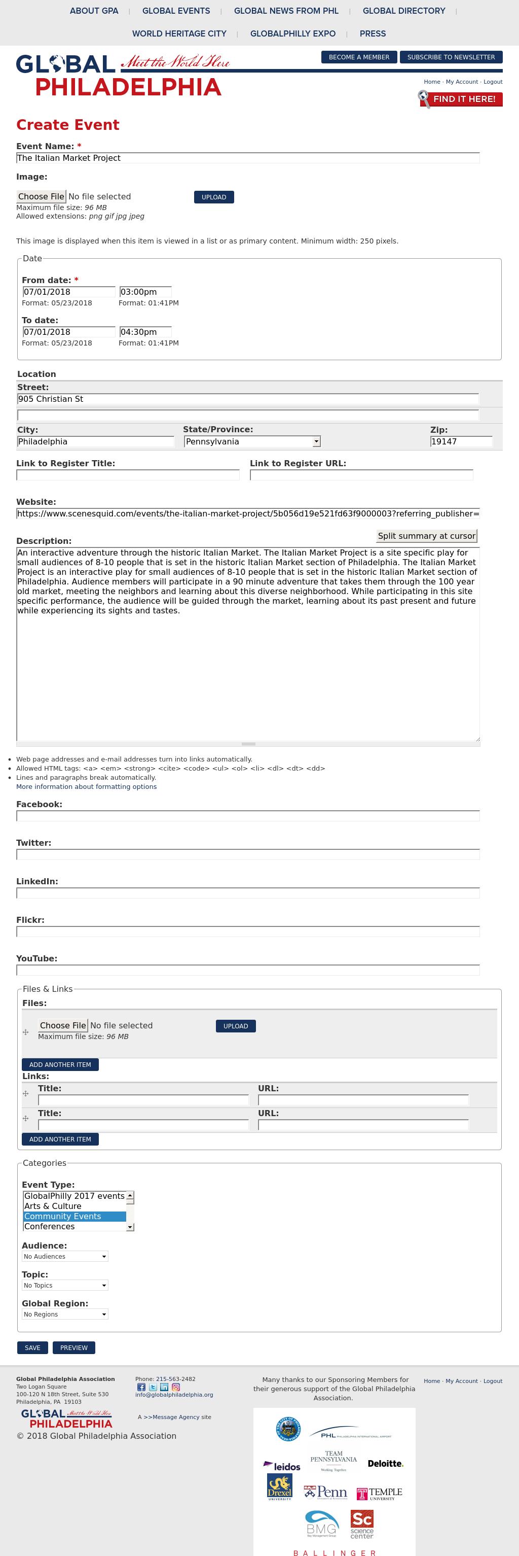 Screenshot from Global Philadelphia integration