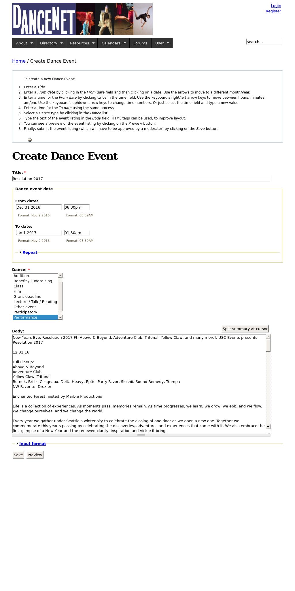 Screenshot from Seattle Dance Net integration
