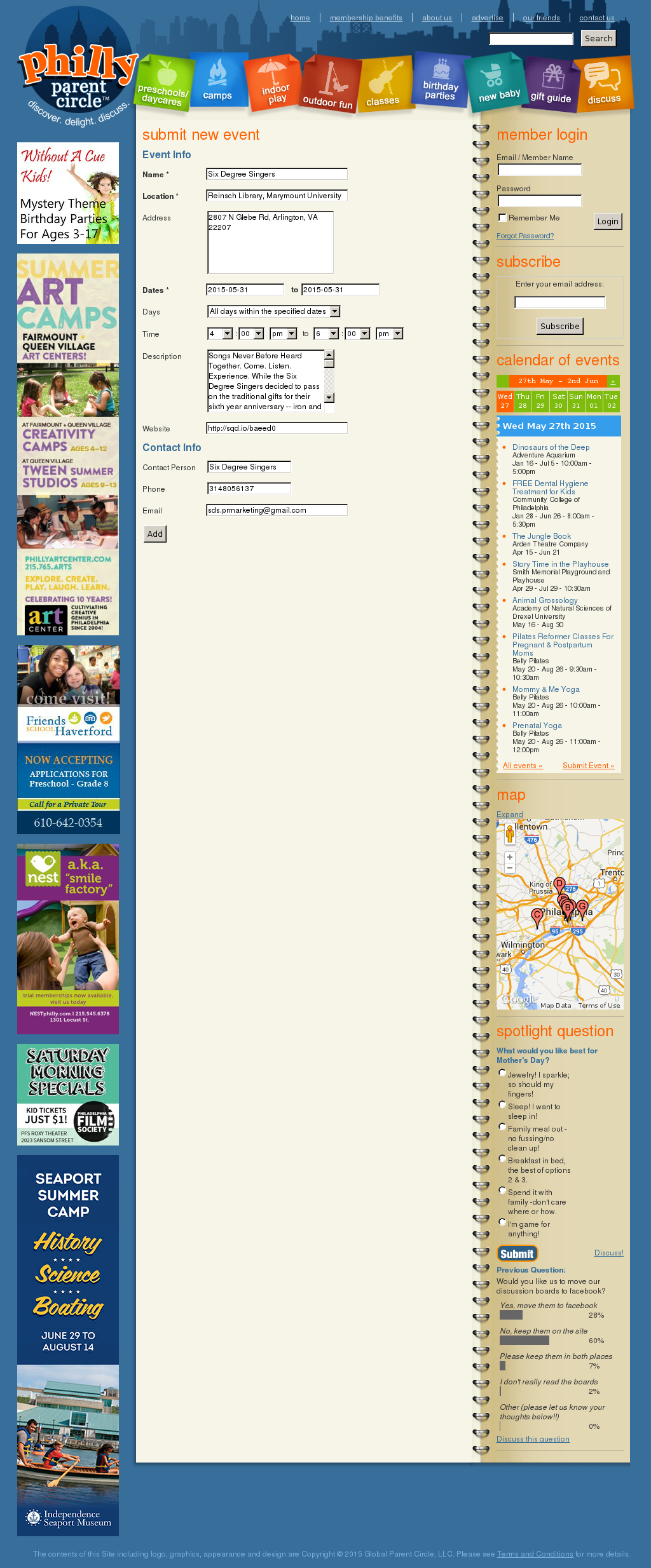 Screenshot from Philly Parent Circle integration