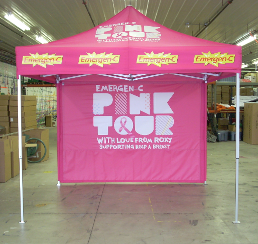 Women are 100 times more likely than men to suffer from breast cancer. Emergen-C is a huge proponent of breast cancer awareness, and went with the MASTERTENT for their campaign.