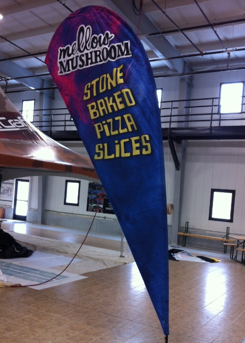 This 15' teardrop flag that we did for Mellow Mushroom towers over everything around it.