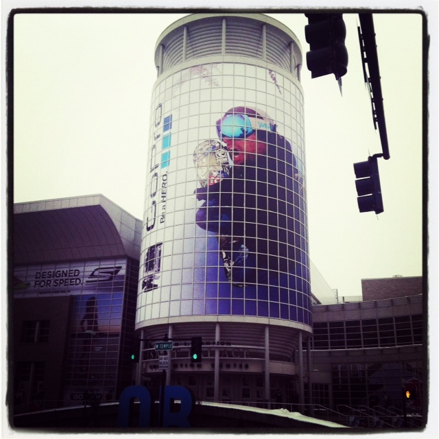 Giant snowboarder mural outside of Outdoor Retailer Show that we're attending in Salt Lake City, UT