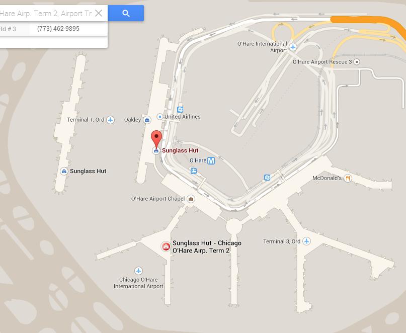 google maps sunglass hut