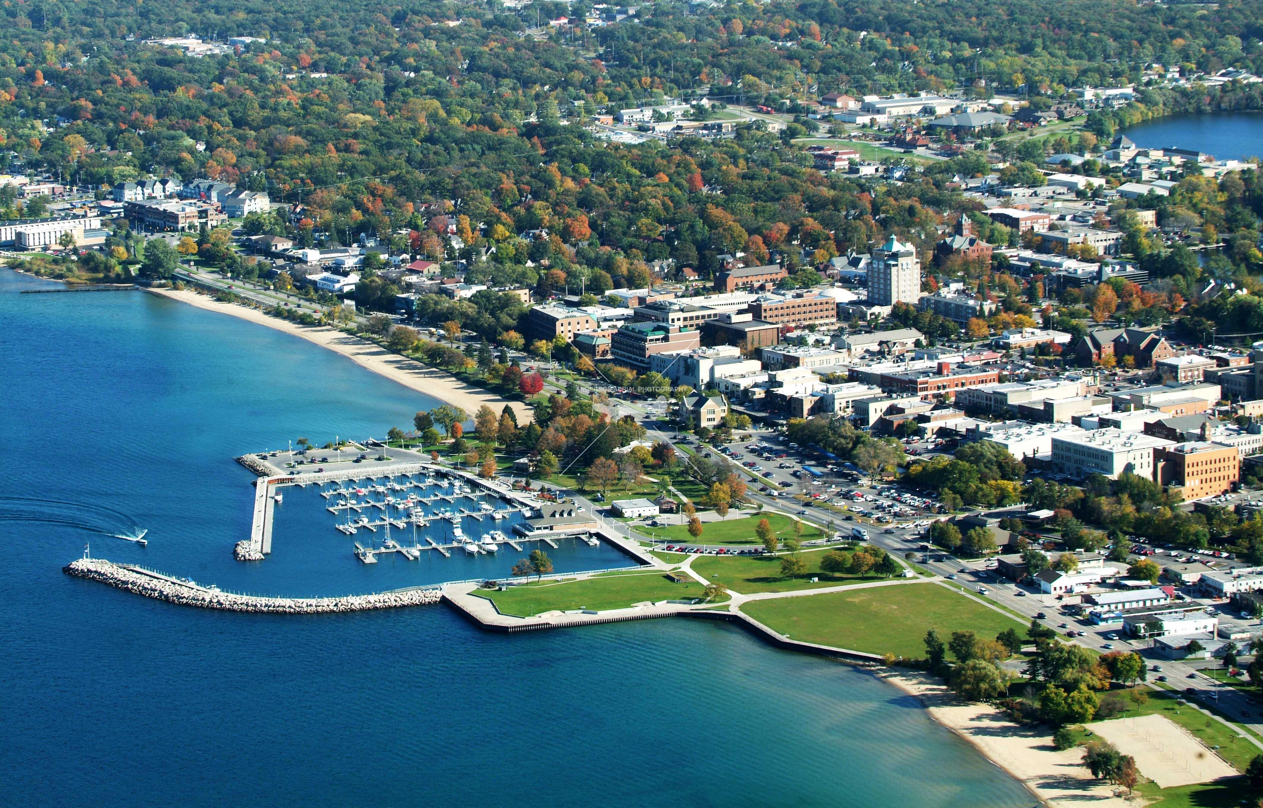 A picture of downtown traverse city from the air.