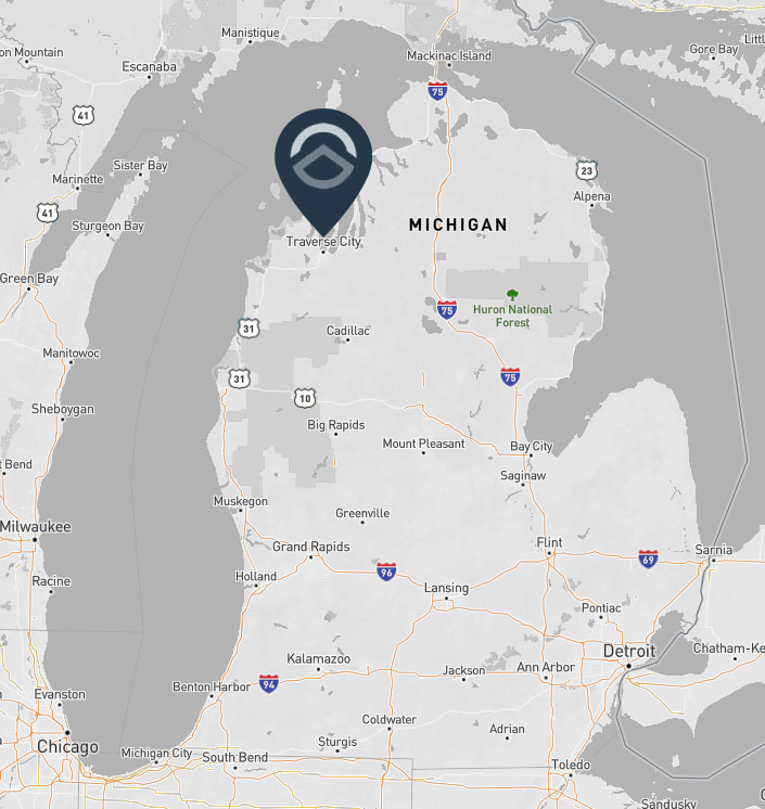 Physical location of TentCraft headquarters in Traverse City on map of Michigan.