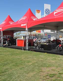 Ducati branded frame tent at product demo.