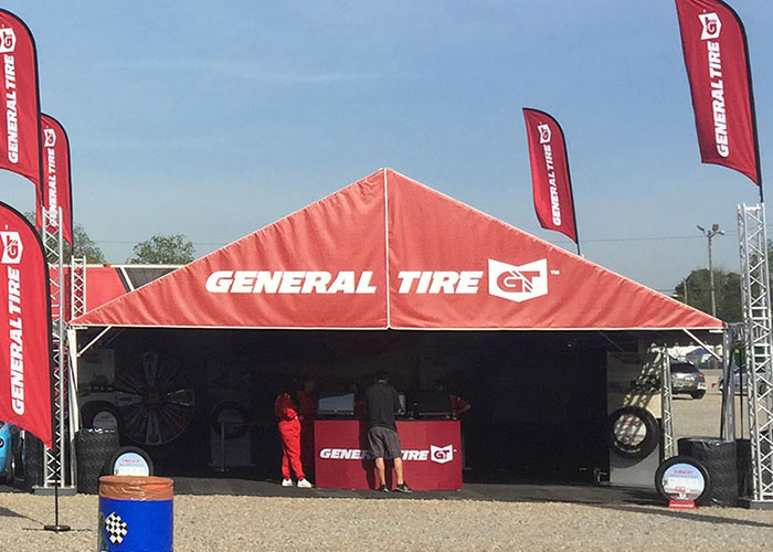 The Future Trac frame tent built for General Tire promotion.