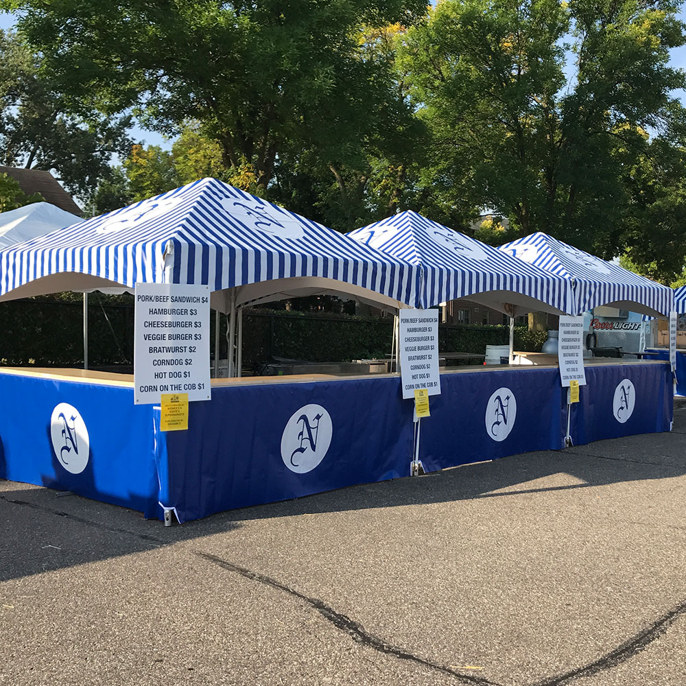 X-Series frame tents build for food concessions at a festival.