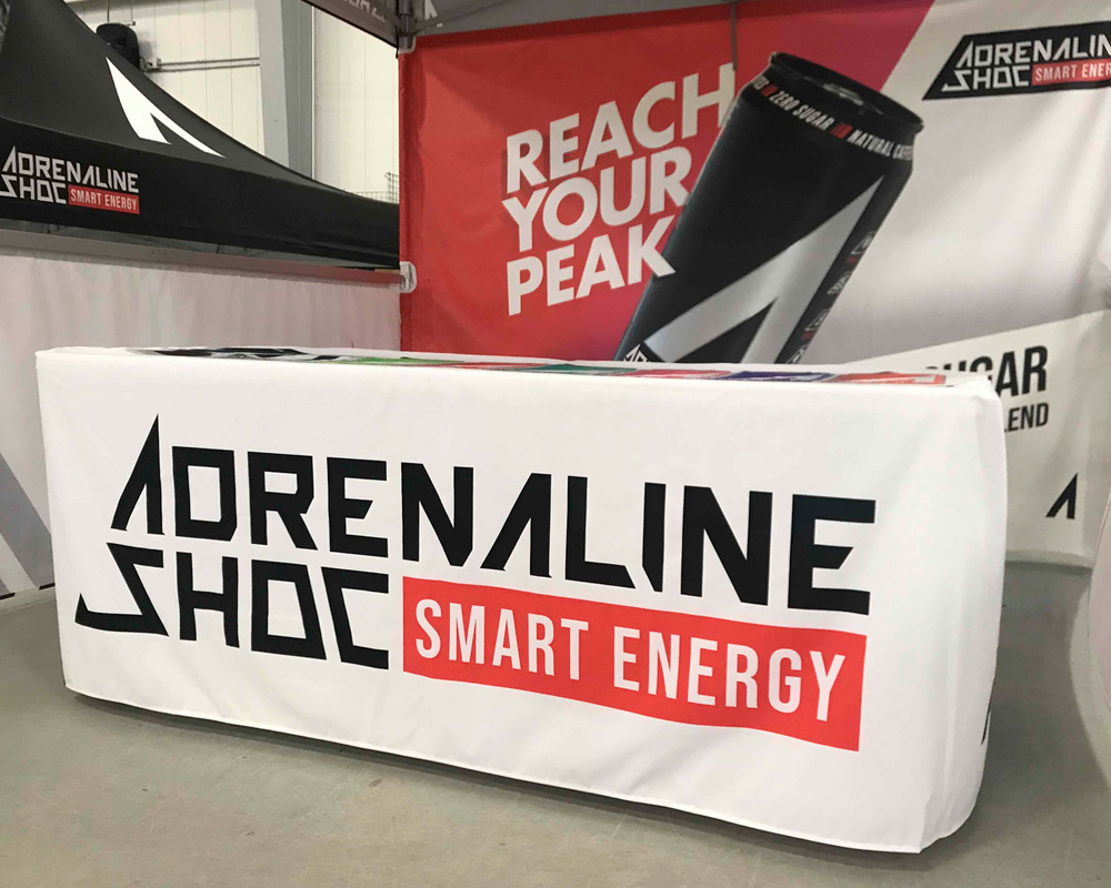 Example of a custom printed table cover for Adrenaline Shoc energy drink