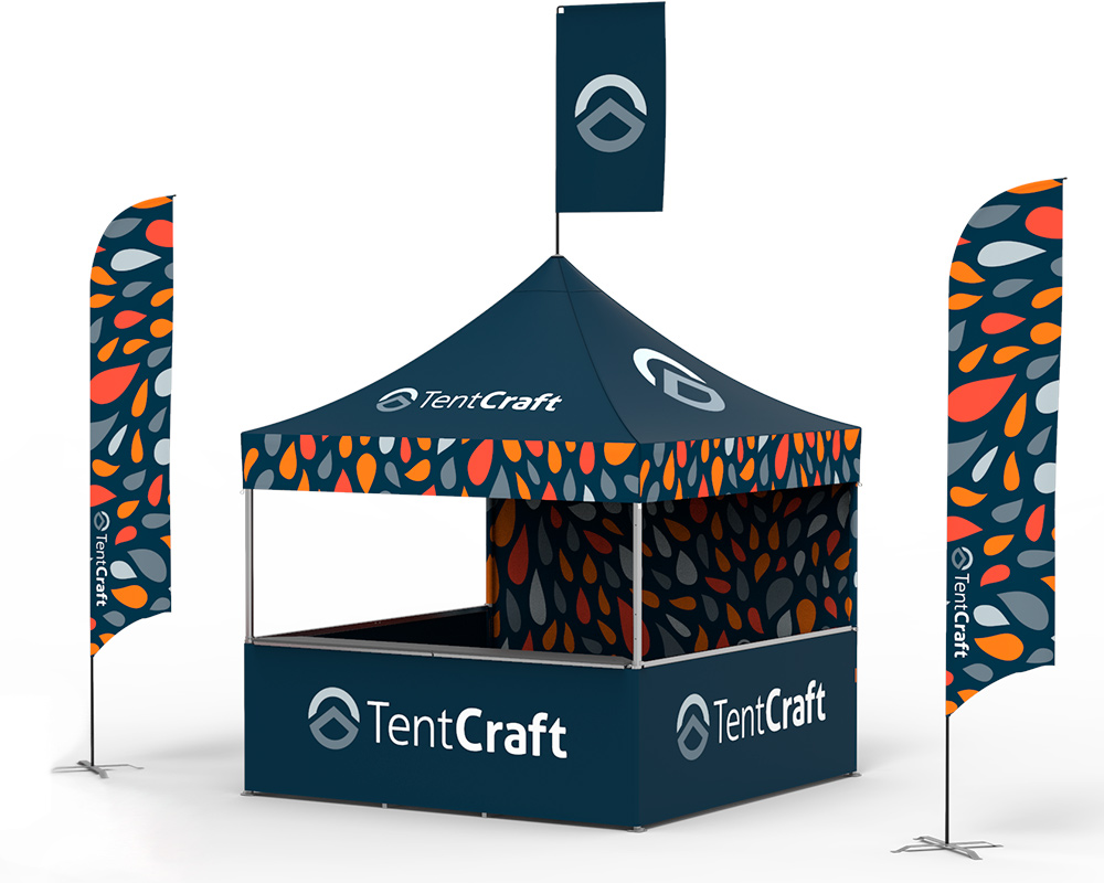rendering of 10x10 tent with printed canopy, flags and walls and counters