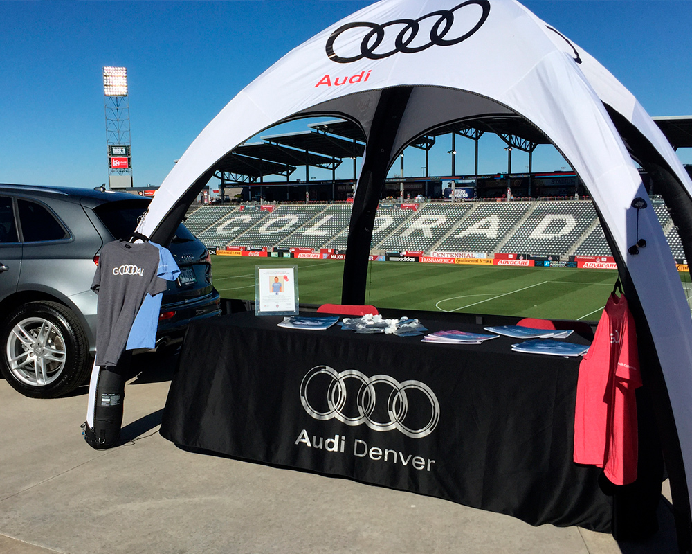 Example of a 10x10 inflatable tent branded for Audi Denver