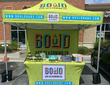 custom heavy duty pop up tent for Bould Ass Seasoning