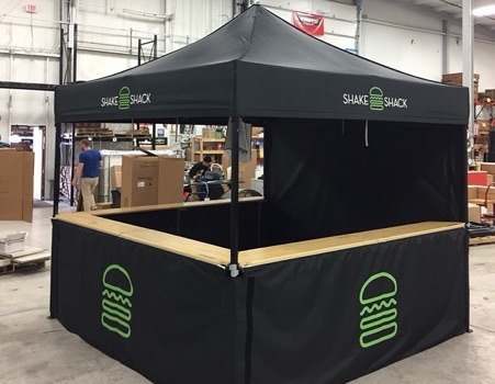 Custom black pop up tent frame for Shake Shack