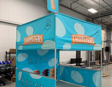 custom cube shaped pop up tent for Thinsters Cookies