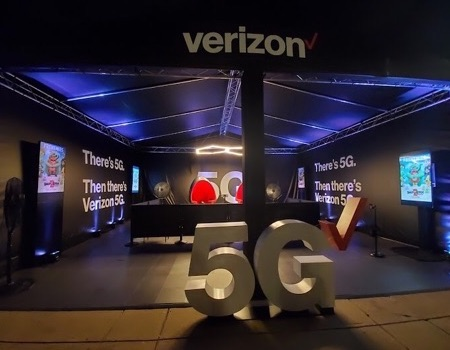 30x30 experiential truss tent for Verizon 5G experience