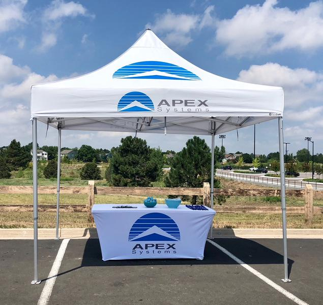 example of our durable, heavy duty pop up canopy printed for Apex Systems