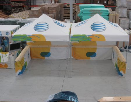 heavy duty canopy tents custom printed for AT&T mobile marketing team