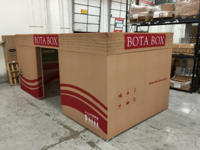 custom made truss event structure built to look like a wine Bota Box