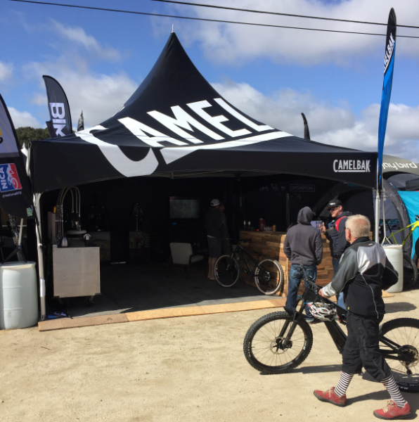 20x20 printed frame tent with Camelbak logo used at Sea Otter Classic bicycle festival