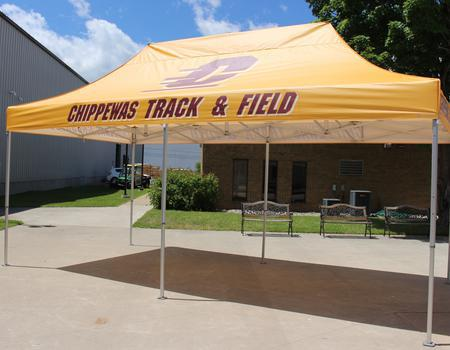 10x20 track and field tent customized for Central Michigan University track and field team