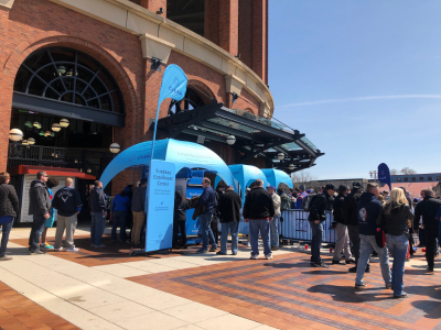 three custom printed gazebo frame tents printed with CLEAR branding and positioned at Citi Field baseball park