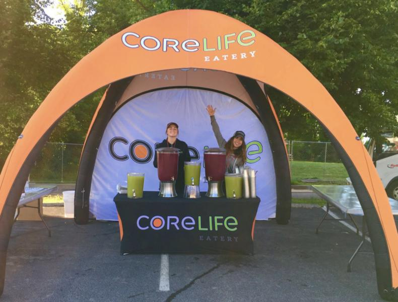 custom printed inflatable tent for CoreLife eatery franchise location