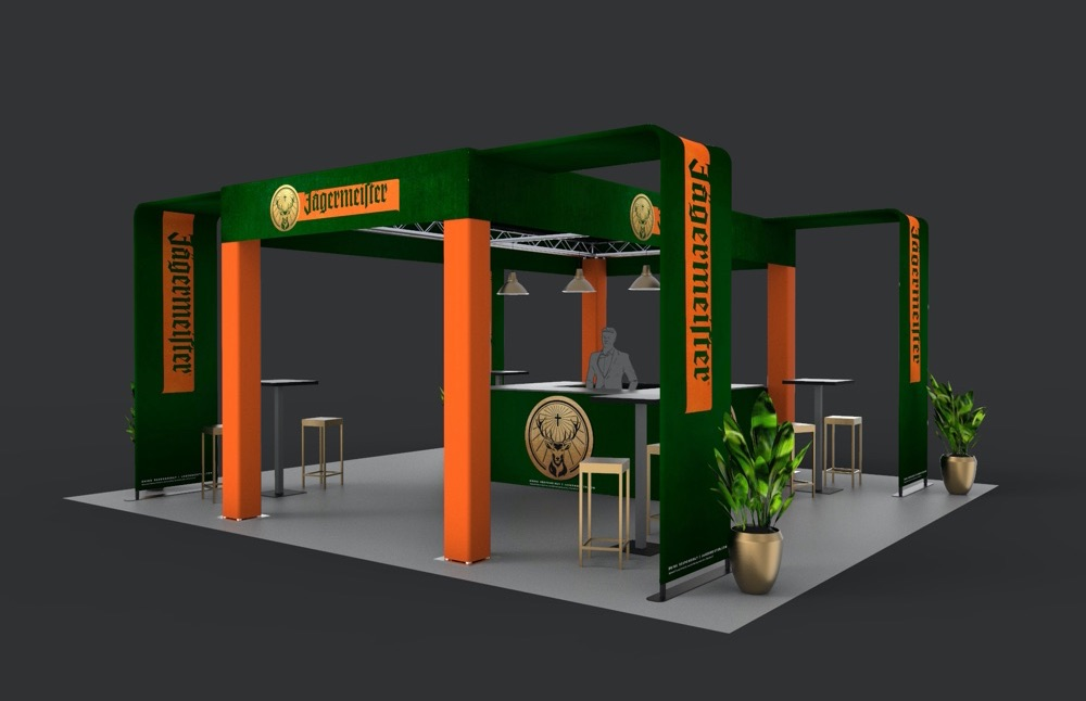 example of experiential fabrication capabilities for a custom Jagermeister structure