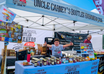 custom 10x10 pop-up event tent for Uncle Carney's Bootleg Habanero Jam