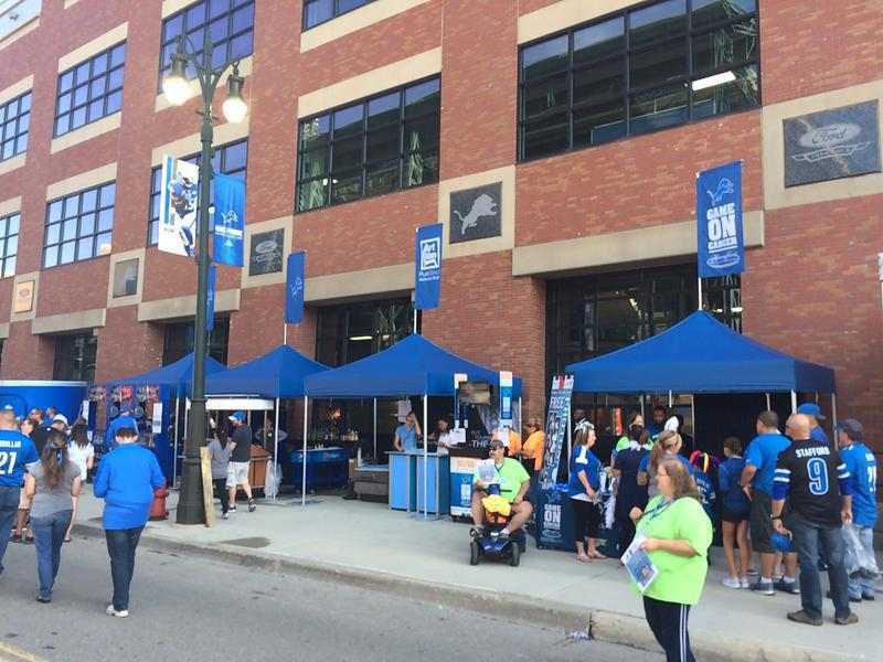 heavy duty 10x10 tents branded for Detroit Lions & Ford Field