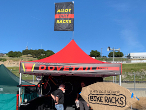 10x10 branded pop-up tent used for bike demos at Sea Otter Classic