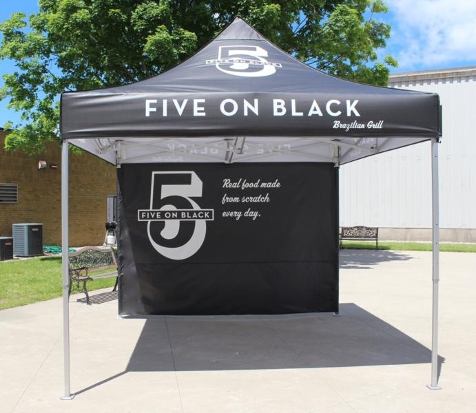 example of a personalized pop up tent for 5 on Black Brazillian Grill