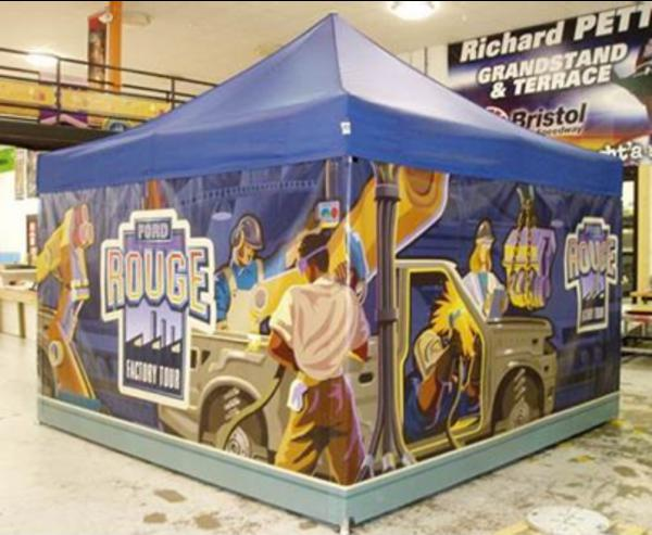 customized 13x13 tent for Ford Rouge Tour