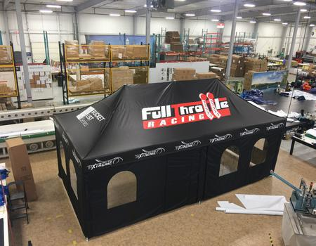 heavy duty pop up tent example for Full Throttle Racing