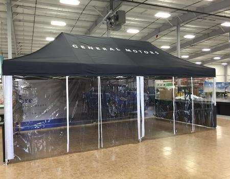commercial grade 13x26 pop up tent model with custom printing and clear vinyl walls