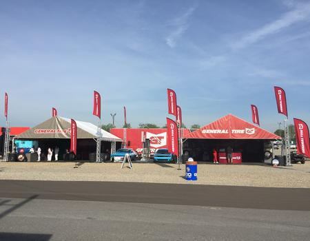 custom tents, flags and truss printed for General Tire brand activation