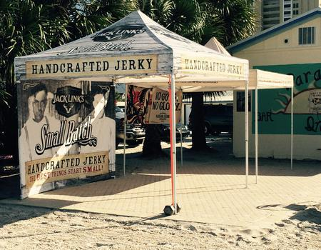 10x10 custom canopy tent branded for Jack Links jerky